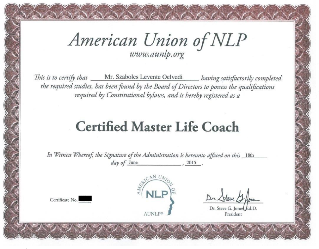 A Certificate From The Steve Jones Life Coaching Certification Course